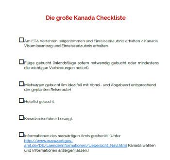 Kanada Checkliste